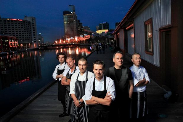 South Wharf's chefs (L to R) Josep Espuga, Justin Dingle, Rodney Shah, Mark Briggs, Paul Mathis and Kengo Hiromatsu.