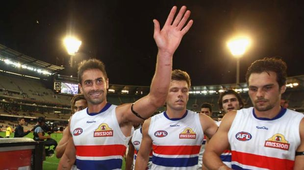 The Bulldogs leave the MCG after their first win of the season against Melbourne.