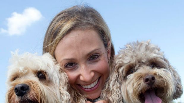 Bondi Vet Lisa Chimes with her dogs Lucan and Nelson at Dudley Page Reserve.