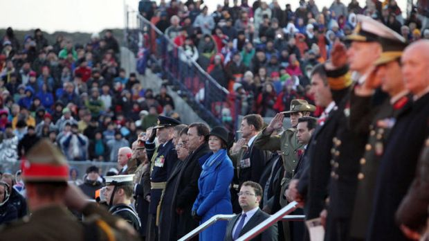 Dawn service … the Prime Minister, Julia Gillard, at Gallipoli yesterday. Corporal Ben Roberts-Smith, VC, stands ...