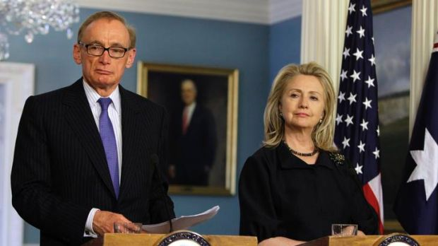 Side by side ... the Foreign Affairs Minister, Bob Carr, holds a joint news conference with the US Secretary of State ...