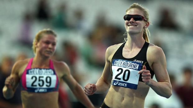 Melissa Breen (right) celebrates after winning the Women's 100 Metre open final during day two of the Australian ...
