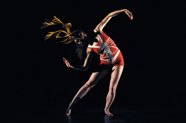 "A dancer performs in ""Panorama"" a play by French choreographer Philippe Decoufle."