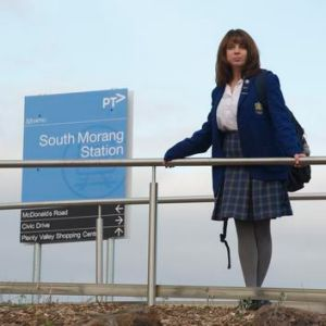 Commuter student Kellie Macnaughtan at South Morang Station.