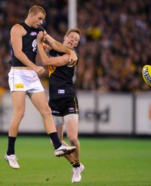 Touchy subject: Jack Riewoldt found the going tough against Carlton.