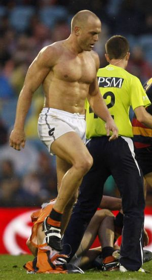 ADELAIDE, AUSTRALIA - APRIL 21:  Chad Cornes of the Greater Western Sydney walks off without shirt during the round four ...
