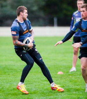 24 April 2012, Canberra Times photo by ROHAN THOMSON. Raiders' Josh Dugan at training this morning.   ...