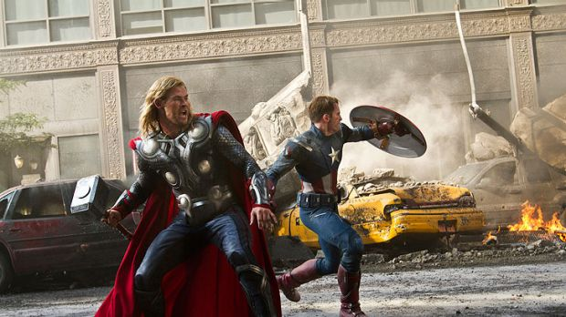 Chris Hemsworth as Thor and Chris Evans as Captain America in <i>The Avengers</i>.