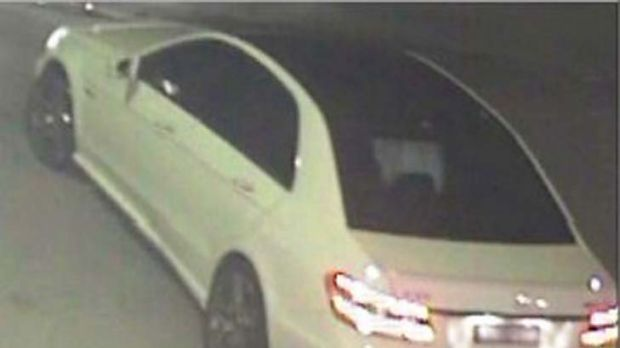 An image of a white Mercedes believed to have been involved in the deadly hit-run.