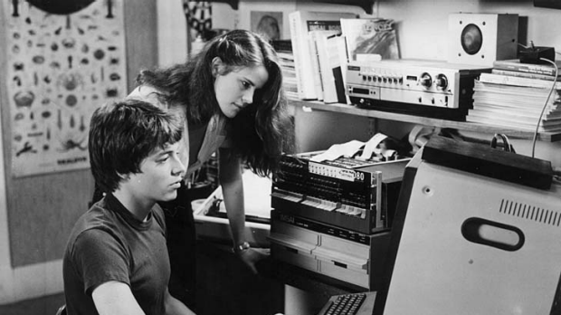 David (Matthew Broderick) and Jennifer (Ally Sheedy) in film still from Wargames.