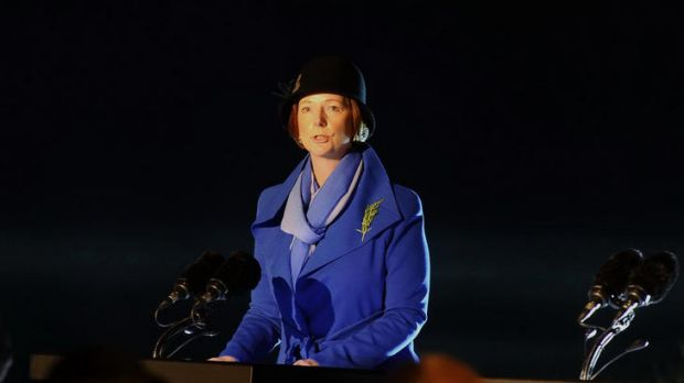 Prime Minister Julia Gillard addresses the solemn throng at the Anzac Day dawn service at Gallipoli.