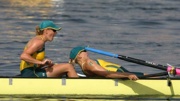 Without a paddle ... Sally Robbins, right, in the 2004 Athens final.