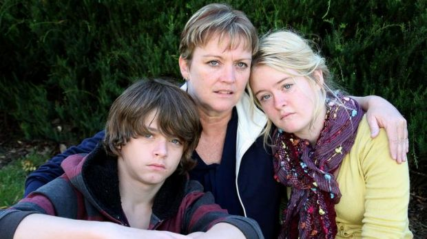 Fiona Vickery (centre) with son Jay Vickery and daughter Skye Vickery, her husband was killed at work last year.