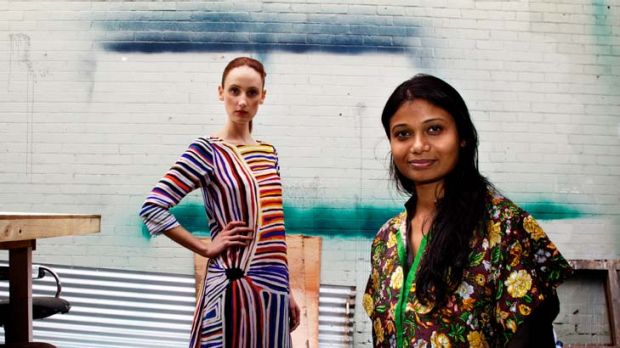 Ethical … Roopa Pemmaraju with a model showing one of her ''easy, wearable'' designs featuring a print by an ...