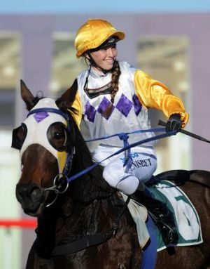 Jockey Kayla Nisbet is thrilled after Glad You Called saluted in Canberra on Friday.