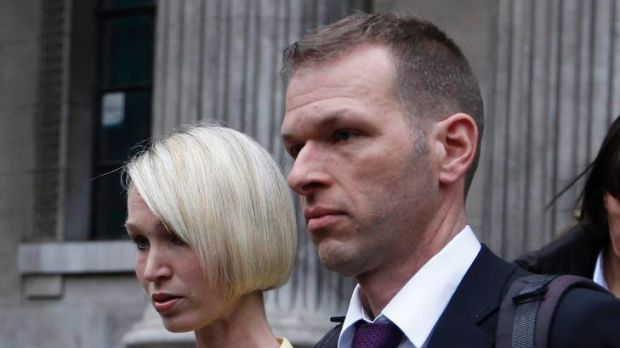 Ceri Subbe, the sister of British MI6 agent Gareth Williams, leaves Westminster Coroner's Court with her husband Chris Subbe.