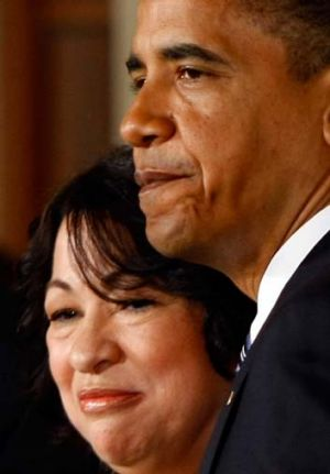 Unlikely journey ... Sonia Sotomayor with President Barack Obama.