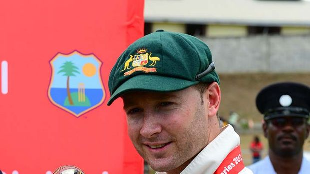 Michael Clarke with the Sir Frank Worrell Trophy.