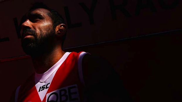 Goodes gold: Adam Goodes will play his 304th match for Sydney this afternoon against the Hawks in Launceston and in ...