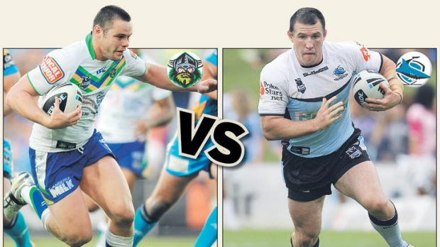 Raiders tackling machine Shaun Fensom and Sharks star Paul Gallen will square of in today's NRL clash.