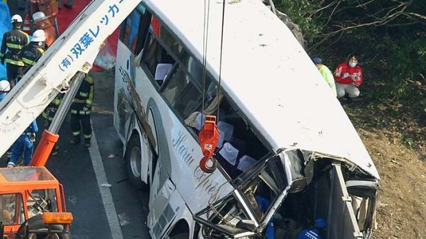 Dozens of holiday makers aboard a Disneyland bound bus crashed on a highway in Fujioka, north of Tokyo.