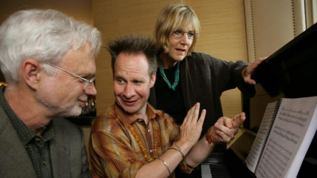 Composer John Adams (left) listens to director/librettist Peter Sellars as he explains his idea about the premiere of ...