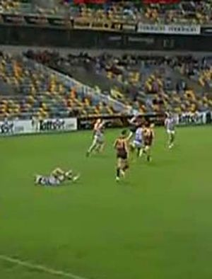 Selwood then takes the hit.