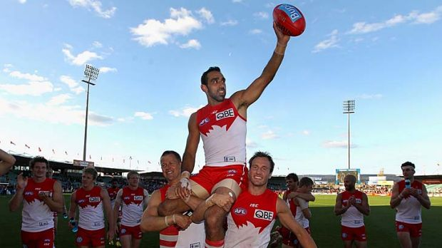 On a high: Sydney's Adam Goodes after his club record 304th match.