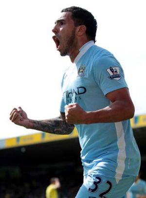 Danger man … City's Carlos Tevez.