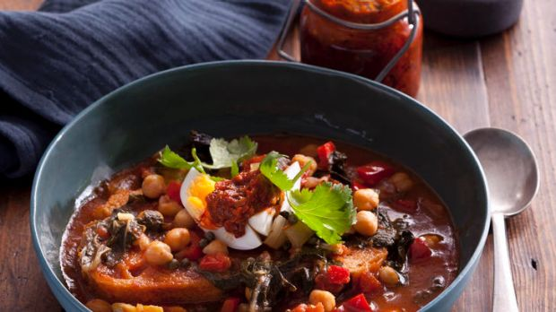 Hearty and healthy ... Tunisian breakfast soup with greens.