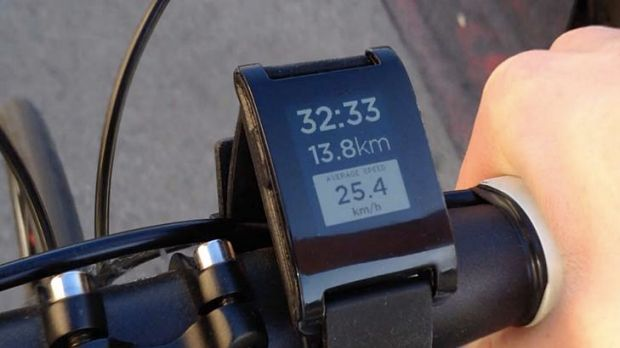 A Pebble prototype mounted on a bike.