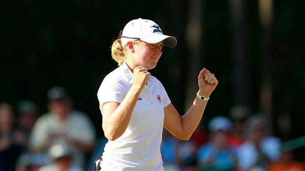 Stacy Lewis celebrates after winning the Mobile Bay LPGA Classic.