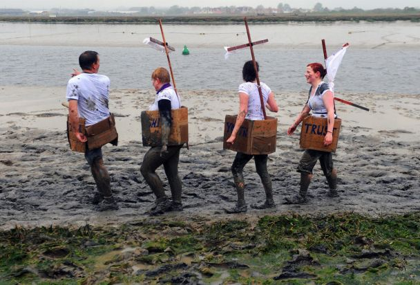 Competitors take part in the Maldon Mud Race