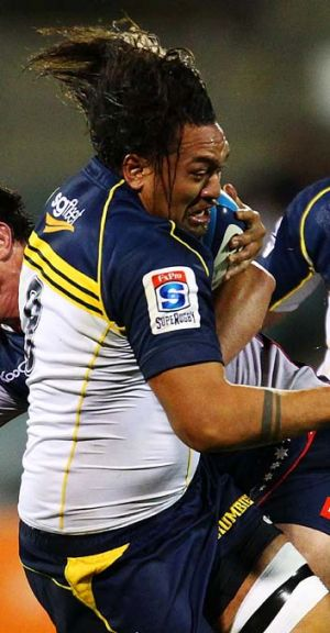 Grudge match ... the Brumbies Fotu Auelua, pictured, faces Waratah and Australian international Wycliff Palu.