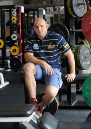 30  April  2012,   Canberra Times photo by RICHARD BRIGGS,  Brumbies vice -captain  Stephen Moore at Brumbies HQ in Griffith.