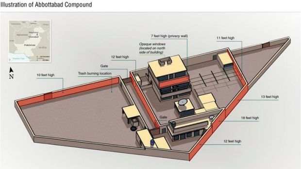 A drawing, released by the Pentagon, shows the compound that Osama bin Laden was killed in Abbottabad, Pakistan.