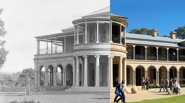 Old Government House as it was in 1909 (L) and is today.