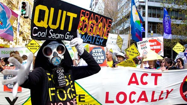 Taking a stand ... thousands rally against coal seam gas mining.