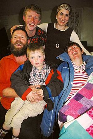 Chris Rohrlach pictured in September 2009 with sons Kieron and Liam, wife Rachel and the  director  of A Good Man,  ...