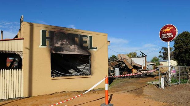 The hotel after last night's fire.