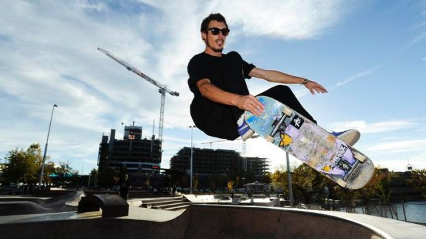 Wild Card competitor Anthony Chicco practises at Belconnen Skate Park ahead of the Wild In The Parks Championship on ...