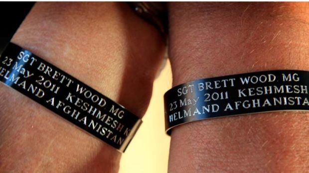 The Brett Wood commemorative wrist bands.