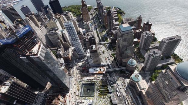 Symbolic ... the memorial site from the 1WTC.