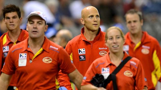 Support crew: Ablett on the sidelines at the North Melbourne game.