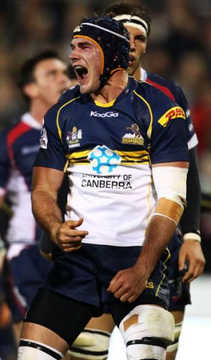 CANBERRA, AUSTRALIA - APRIL 14:  Ben Mowen of the Brumbies celebrates scoring a try during the round eight Super Rugby ...