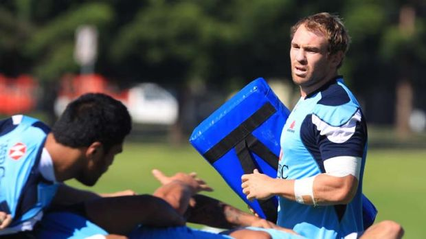 Getting down to it … Waratahs breakaway Rocky Elsom looks over the team's scrum at training yesterday. The NSW ...