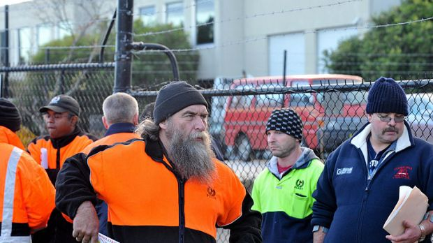 'Devastated' ... Workers outside the 1st Fleet offices in Melbourne arrived to find themselves locked out.
