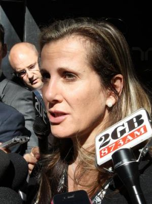 Kathy Jackson fronting the media.