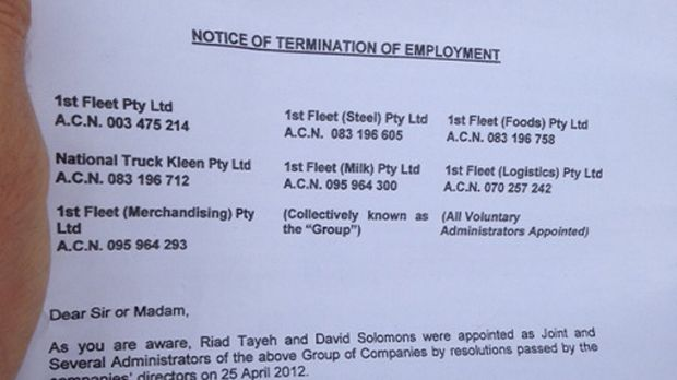 No job ... The termination notice handed to staff this morning.