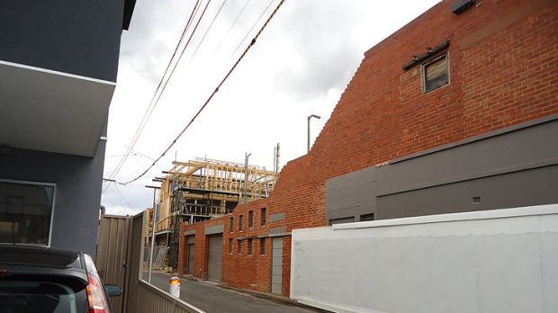 The exterior wall of the Newry Street factory in Richmond before it was torn down.